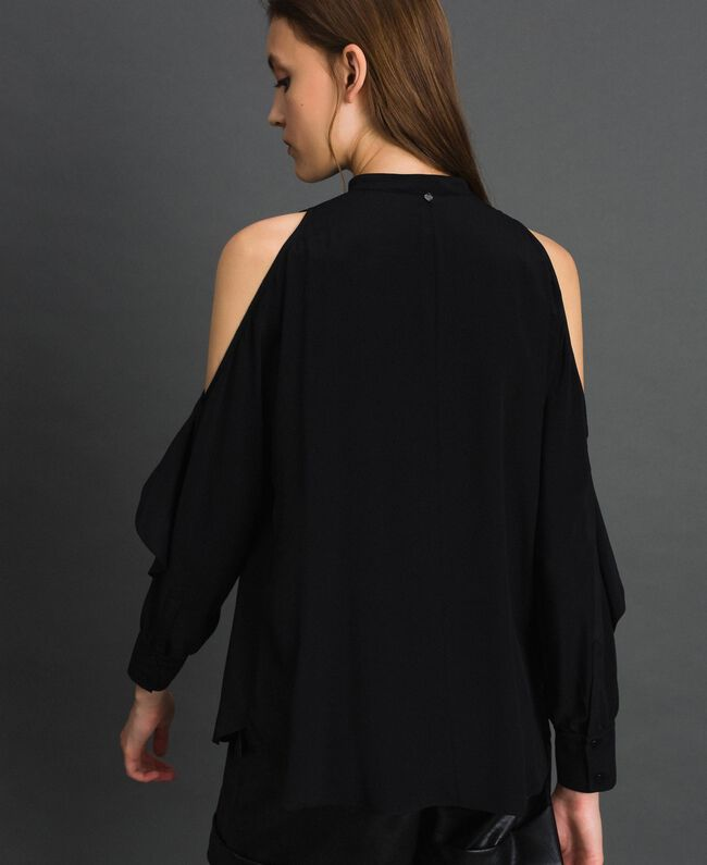 Rüschenhemd aus Crêpe de Chine Schwarz Frau 192TT2432-03