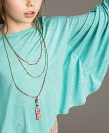 "Jersey T-shirt and multiclour necklace ""Island Paradise"" Light Blue Melange Child 191GJ2720-05"