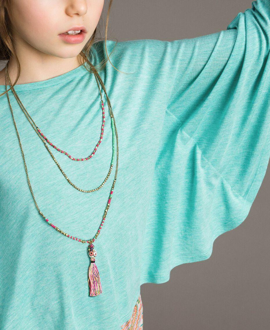 "Jersey T-shirt and multiclour necklace ""Island Paradise"" Light Blue Melange Child 191GJ2720-05"