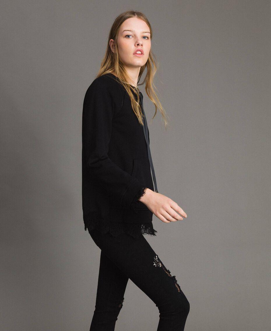 Sweatshirt mit Spitzendetails Schwarz Frau 191MP2324-02