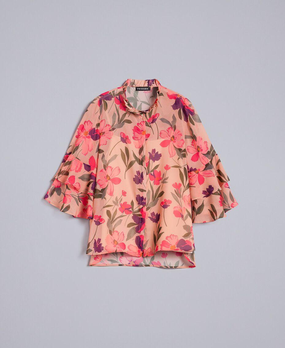 Chemise en mousseline avec imprimé floral Imprimé Rose Tulipe Femme TA825S-0S