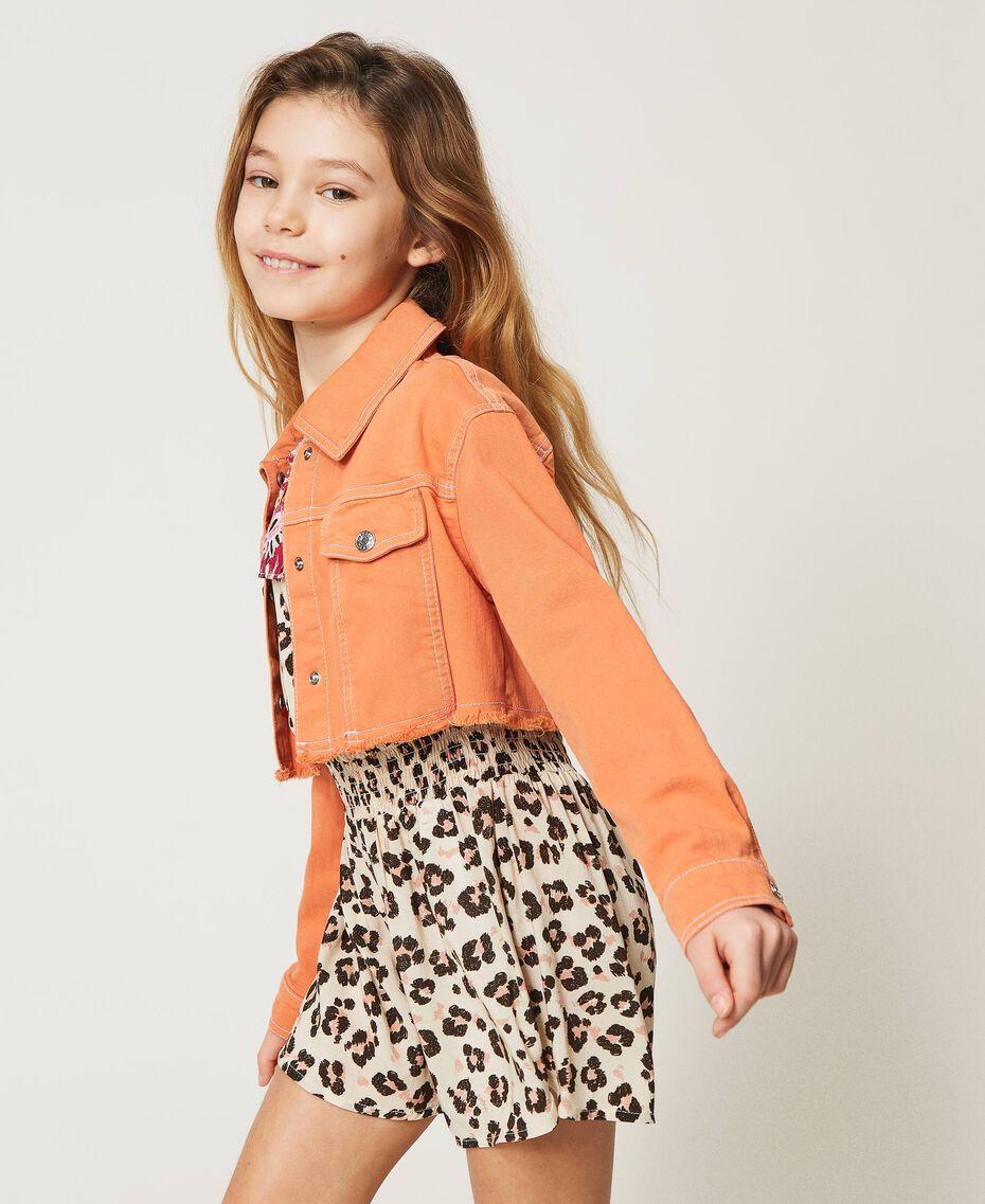 """Cropped bull jacket with logo """"Iceland Poppy"""" Orange Child 211GJ206B-02"""