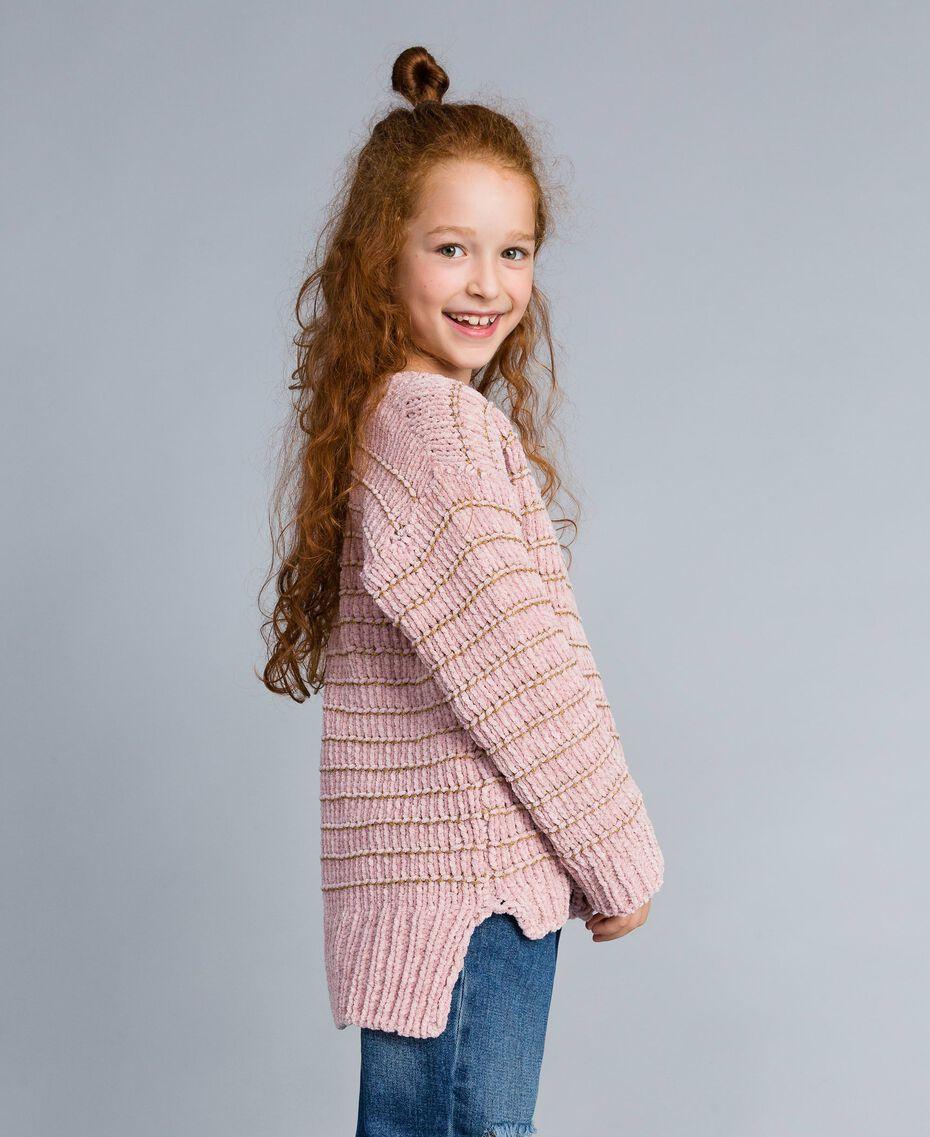 Chenille jumper with lurex Rose / Gold Lurex Jacquard Child GA83K1-0S