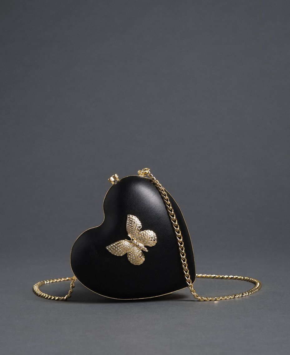 Borsa pochette in similpelle con strass Nero Donna 192TO8030-01