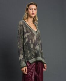 Maxi maglia in mohair stampato Stampa Camouflage Donna 192TT3330-03