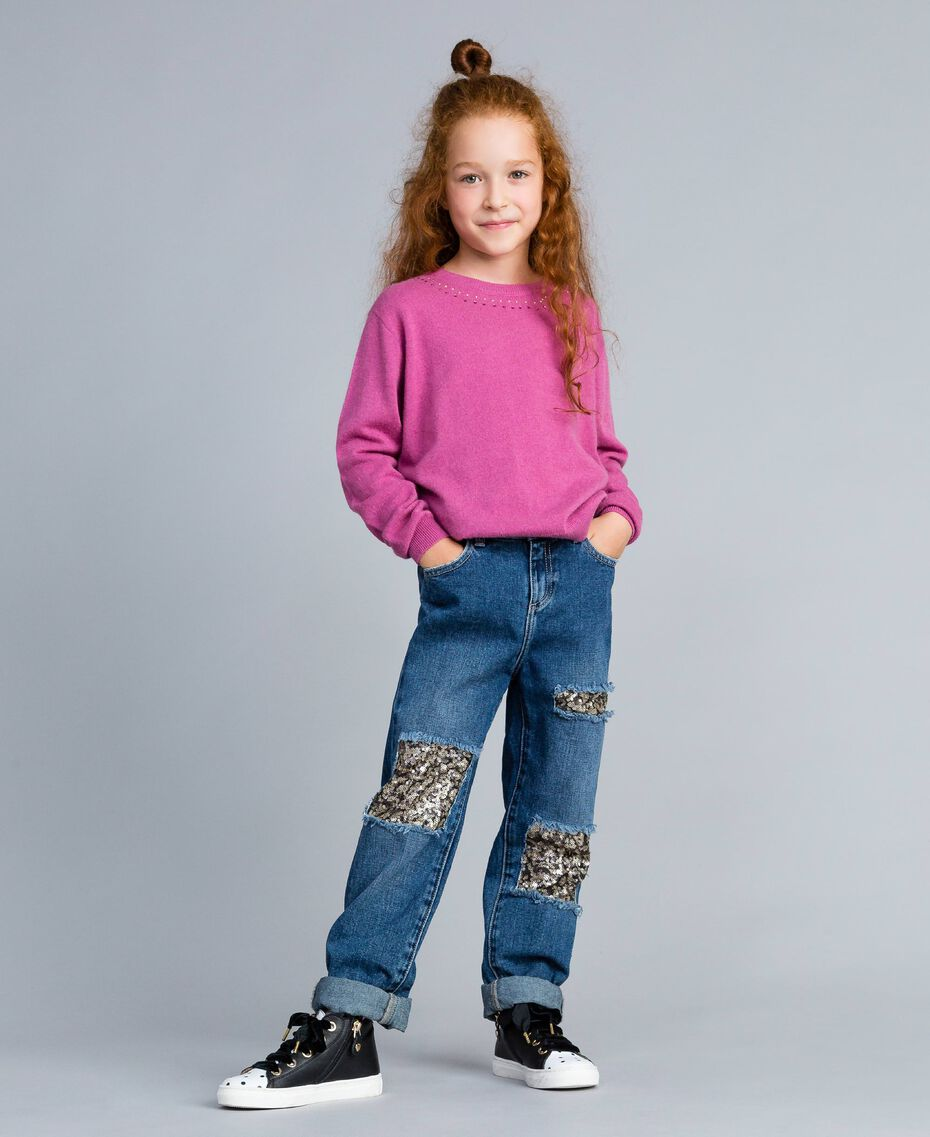 "Jeans in denim con paillettes Bicolor Blu Denim / Paillettes Rosa ""Bouganville"" Bambina GA82PD-0S"