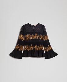 Blouse en mousseline avec imprimé floral Imprimé Rayures Patch Fleur Baroque Noir Femme 192TT2540-0S