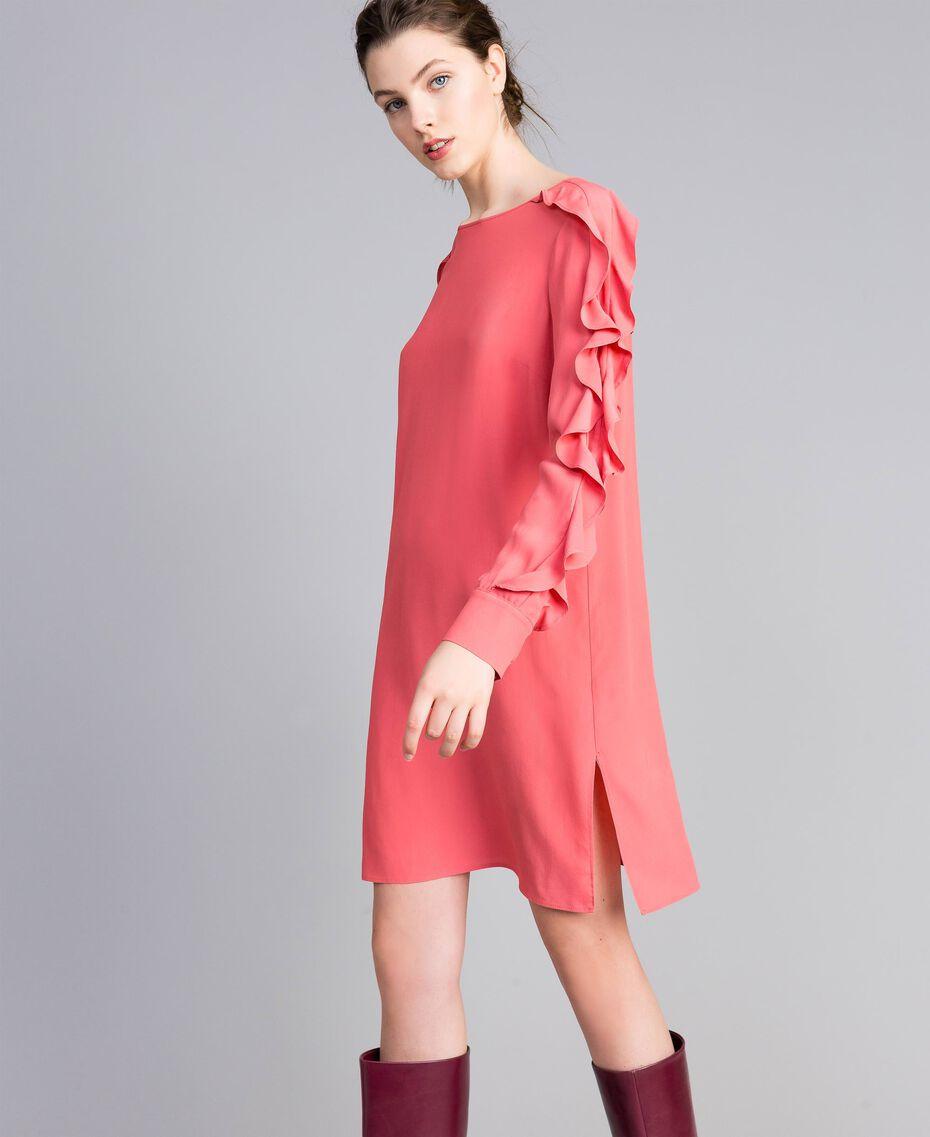 Short silk blend dress with frills Royal Pink Pink Woman PA828A-01
