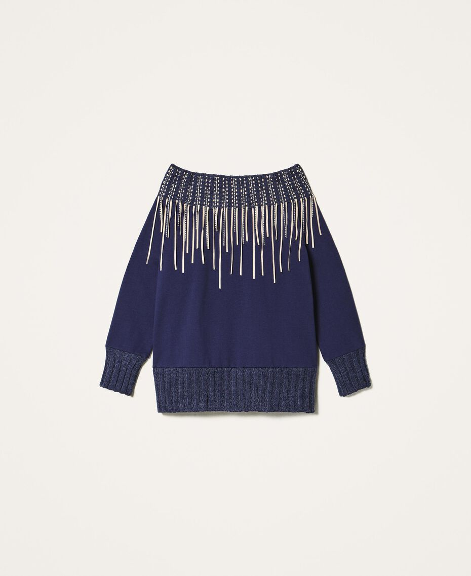 Sweatshirt mit Stickerei und Fransen Blackout Blau Frau 202LI2HAA-0S