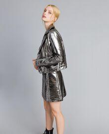Jacke aus Metallic-Lederimitat Gewehrlauf Grau Frau YA82BN-0T