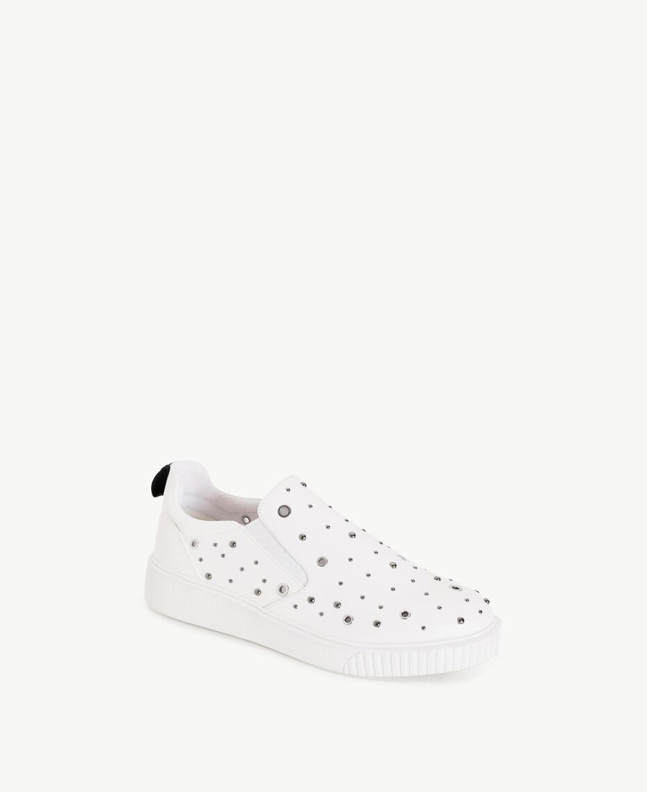 TWINSET Studded slip-on shoes White Woman DS8PBA-02