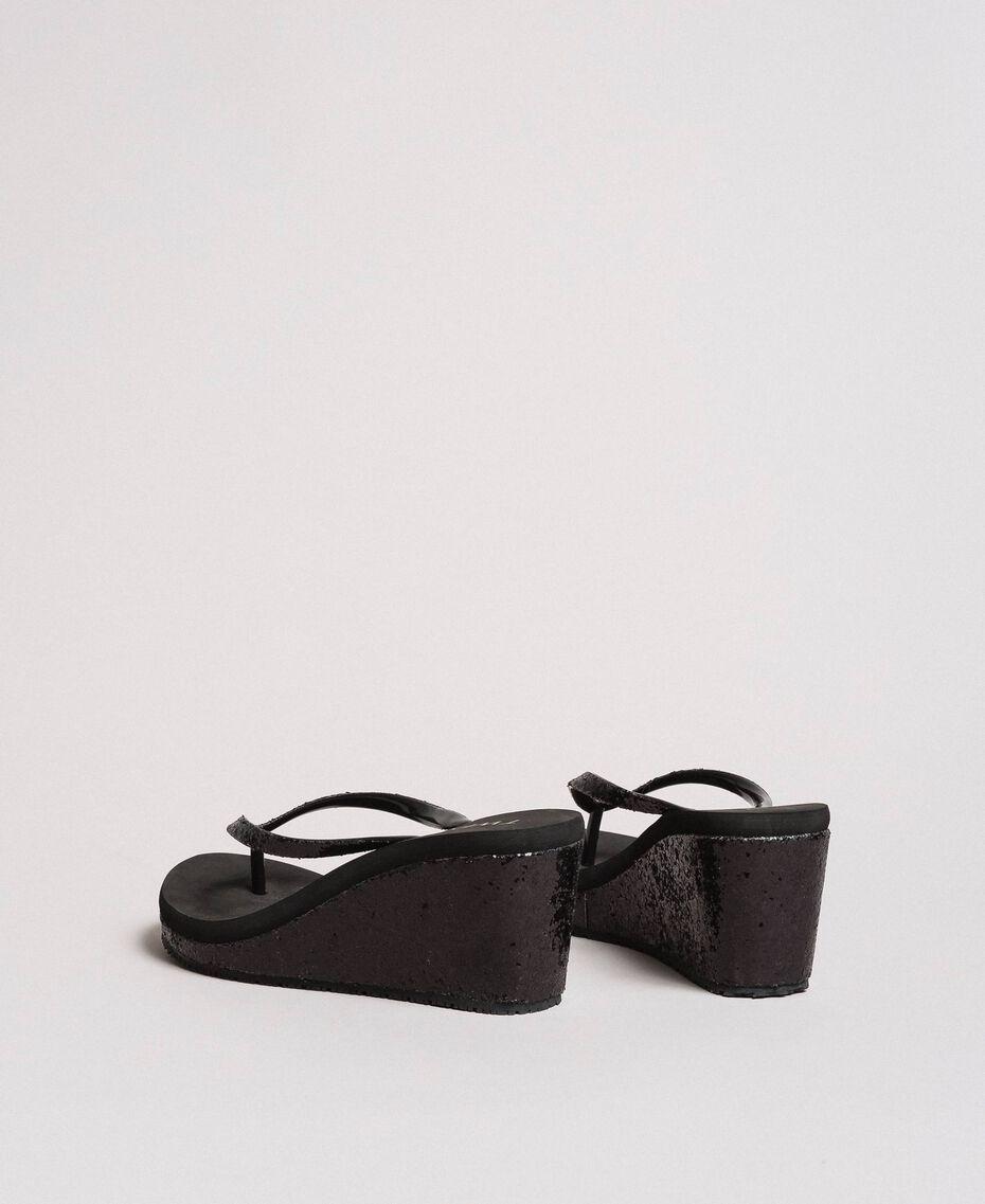 Tongs pailletées avec semelle compensée Noir Femme 191LB43HH-03