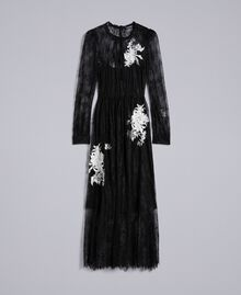 Long Valencienne lace dress Black Woman PA824Q-0S