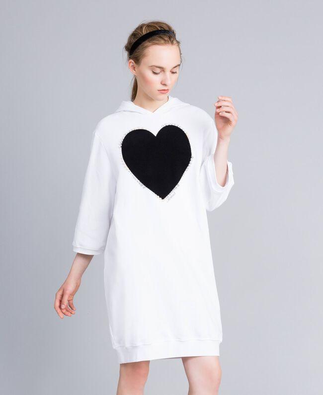 Kleid aus Baumwolle mit Flockherz Weiß Frau PA82CG-01
