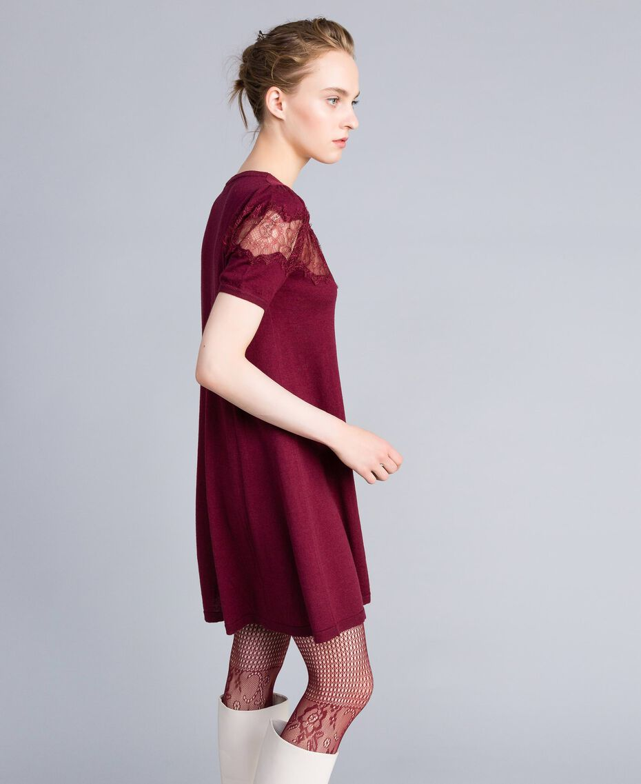 Wool blend dress with lace inlays Bordeaux Woman PA83AA-02