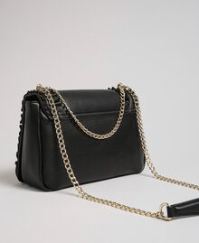 Shoulder bag with flounce and pearls Black Woman 192MA7063-02