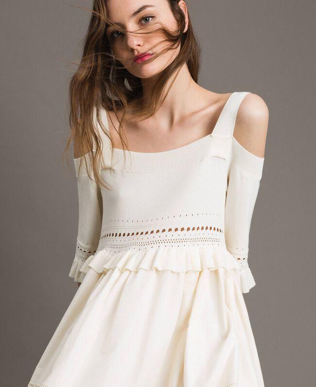 Gestricktes Broderie-Anglaise-Kleid Weiß Schnee Frau 191TT3013-04