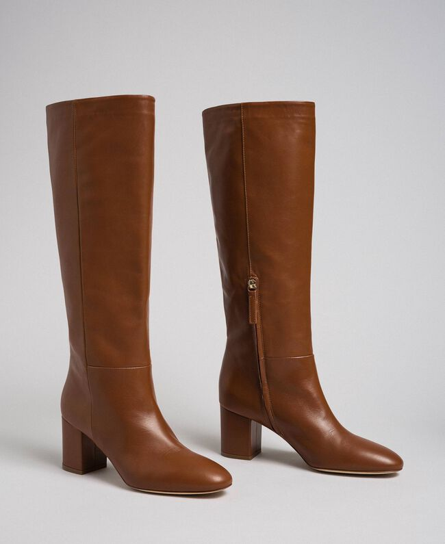 Leather high boots Leather Brown Woman 192TCP100-01