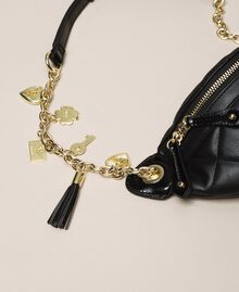 Quilted faux leather belt bag with charms Black Woman 201MA7045-04