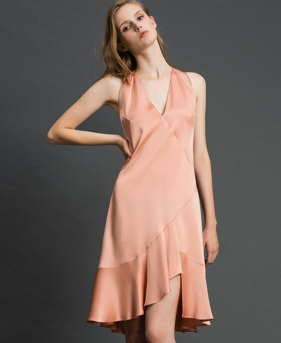 Satin dress with asymmetric tailoring
