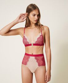 """Two-tone lace triangle bra Two-tone Red Amaranth / """"Peach Powder"""" Pink Woman 202LL6A22-01"""