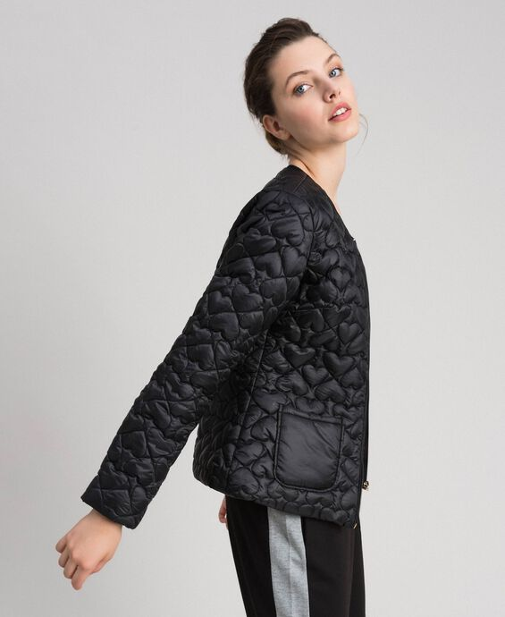 Short puffer jacket with hearts
