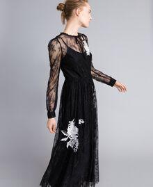 Long Valencienne lace dress Black Woman PA824Q-02
