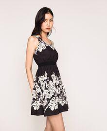 Robe en popeline florale Imprimé Fleur Graphique Noir Femme 201TT2312-02
