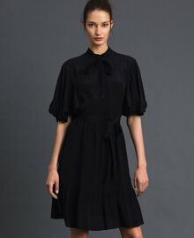Crêpe de Chine silk blend dress Black Woman 192TP2261-01
