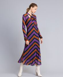 Long striped georgette dress Multicolour Stripe Print Woman TA8294-01