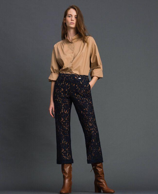 Pantalon évasé en dentelle macramé Beige «Séquoia» / Bleu Nuit Femme 192ST208D-01