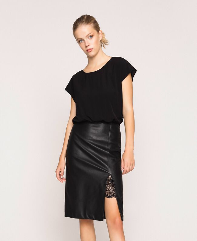 Faux leather and crêpe de Chine dress Black Woman 201TP2122-01