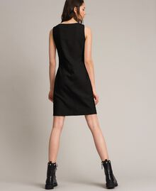 Fleece dress with slit and logo Black Woman 191LL28EE-03