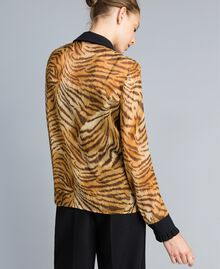 Printed silk chiffon shirt Tiger Print Woman TA8252-03