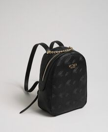 Heart print faux leather backpack Black Woman 192MA7012-01