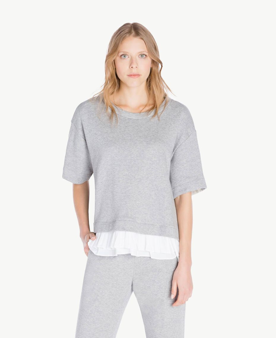 Flounced sweatshirt Light Gray Mélange Woman PS82UQ-01