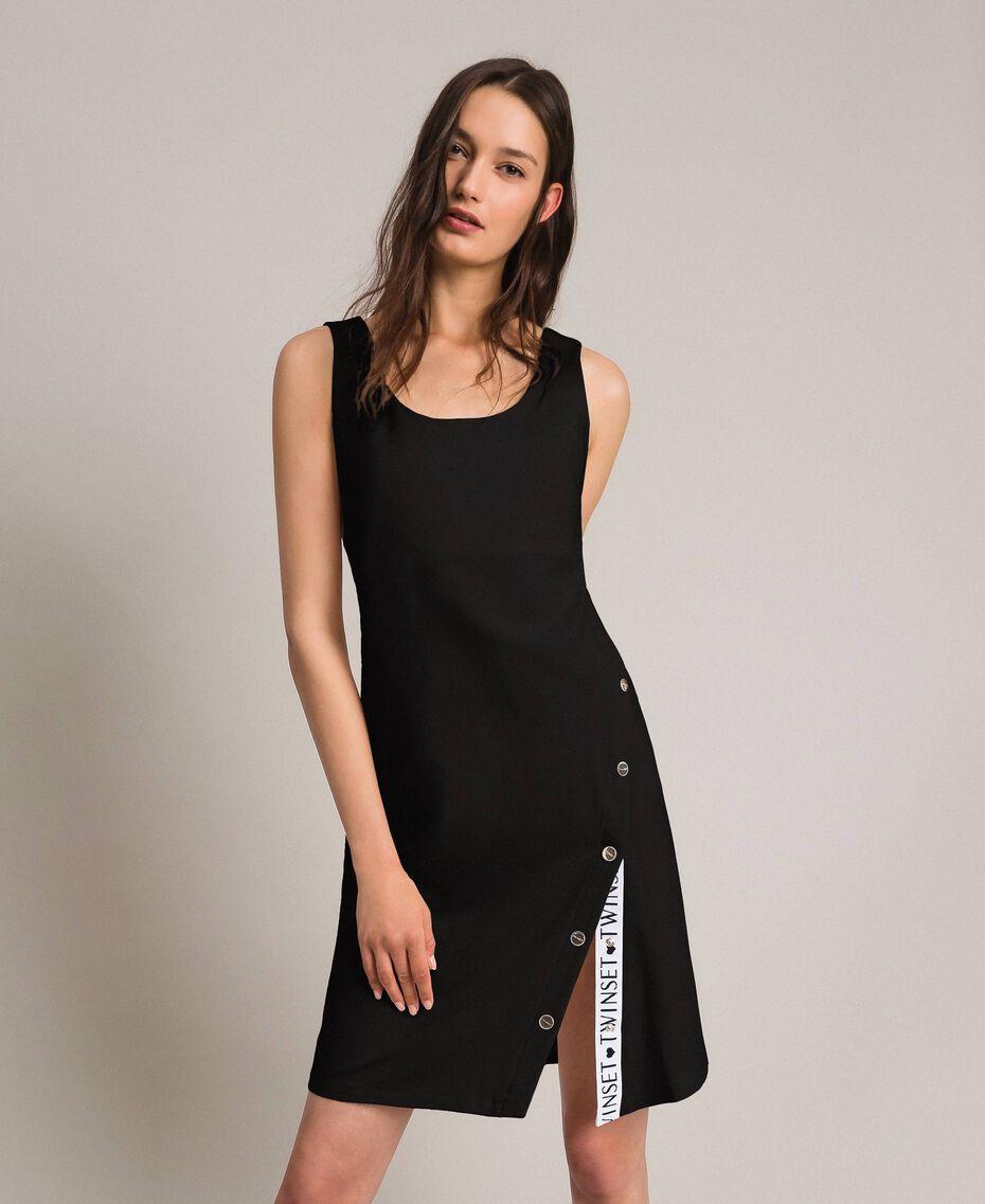 Robe en molleton avec fente et logo Noir Femme 191LL28EE-01