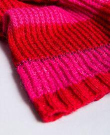 "Two-tone striped scarf Bicolour ""Poppy"" Red / ""Cerise"" Fuchsia Woman RA8T2J-02"