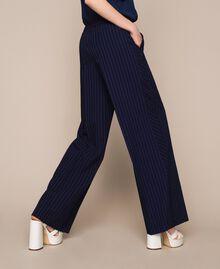 Pin stripe palazzo trousers Midnight Blue Pin Stripe Jacquard Woman 201ST2083-03