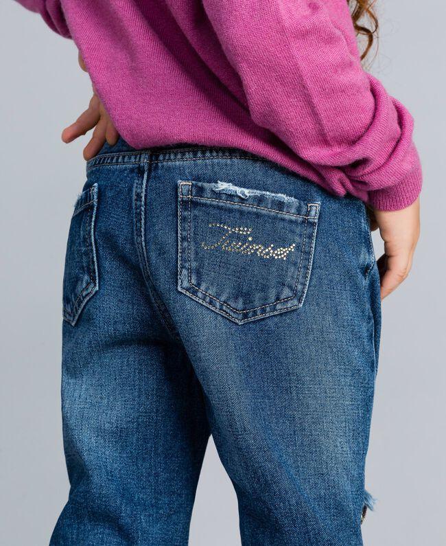 """Jeans aus Denim mit Pailletten Zweifarbig Denimblau / Pailletten """"Bougainville""""-Rosa Kind GA82PD-04"""