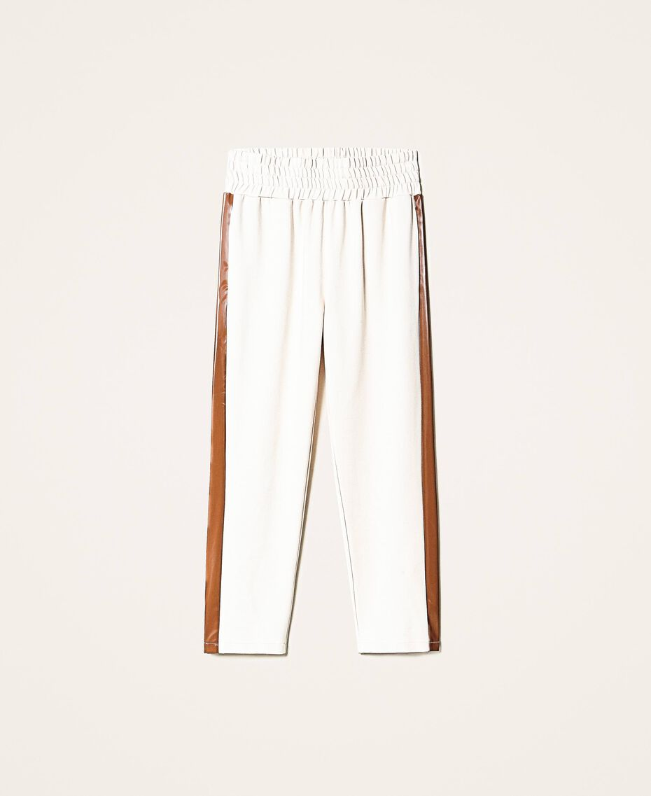 """Trousers with patent leather inlays Two-tone Cloud Pink / """"Terracotta"""" Brown Woman 202LI2JCC-0S"""