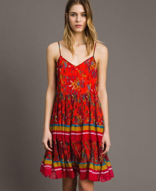 Floral print chiffon dress Multicolour Chiné / Grenadine Striping Woman 191TT2364-01
