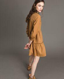 """Robe en popeline avec insertions en dentelle Beige """"Savane"""" Femme 191ST2046-02"""