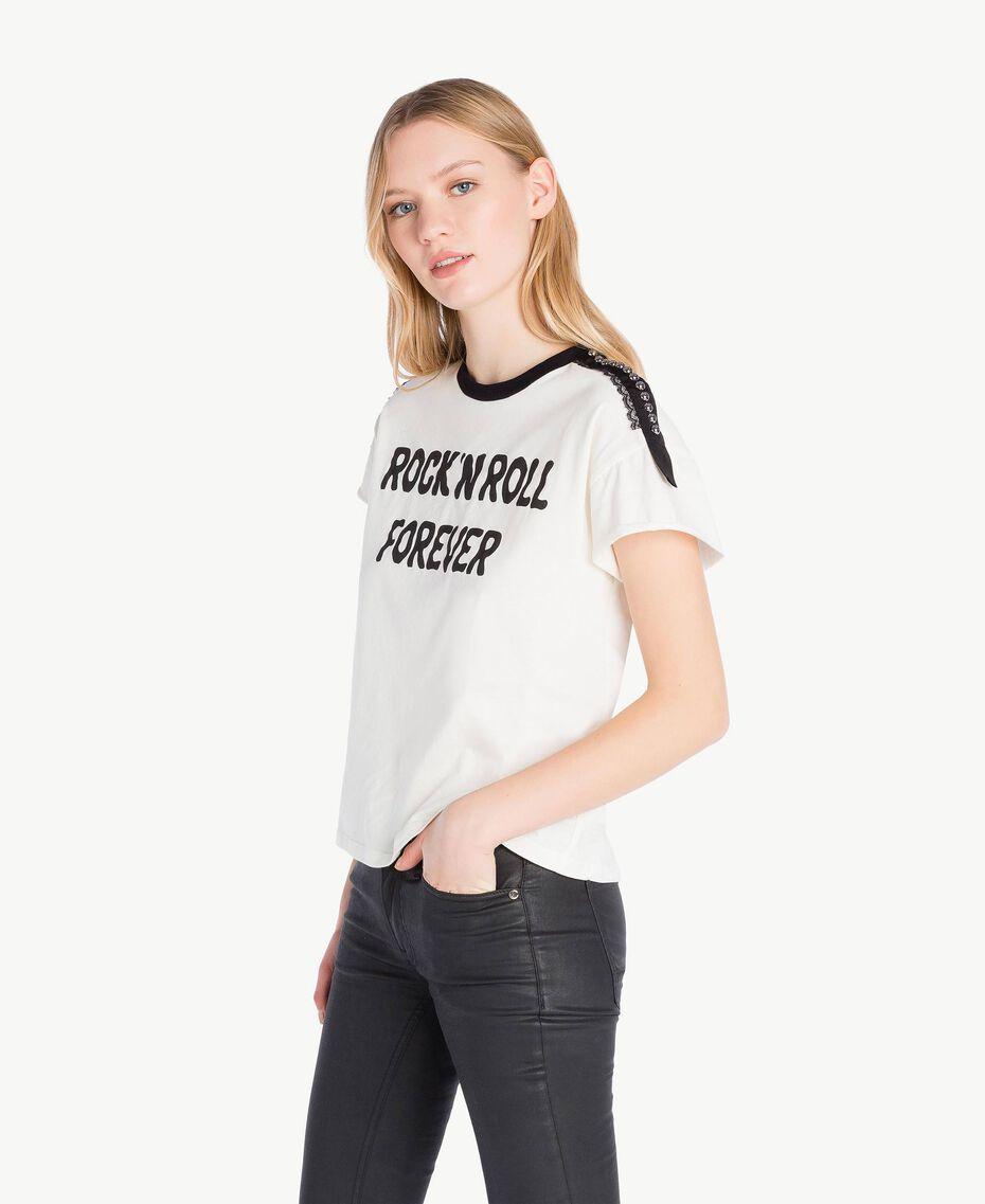 T-Shirt mit Nieten Helles Elfenbein Frau PS82N1-02