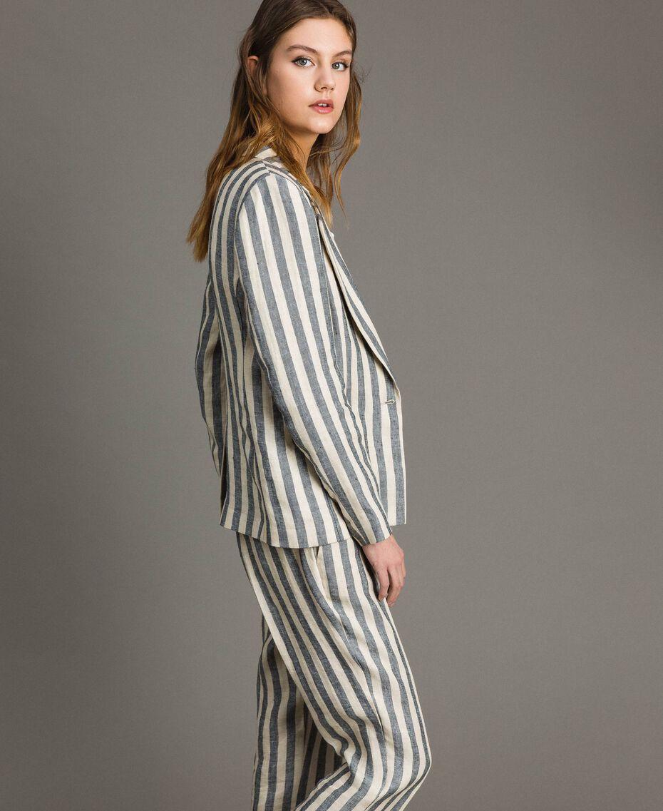 "Two-tone striped linen jacket Two-tone Black / ""Marzipan"" Beige Woman 191TT2310-02"