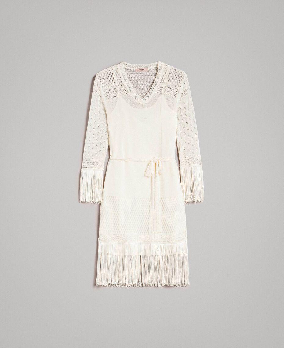 Mesh stitch fringed dress Ecrù Woman 191TT3060-0S
