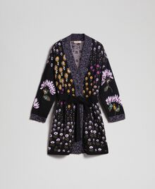 Floral jacquard cardigan with embroidery Multicolour Floral Jacquard Woman 192TT3241-0S