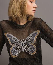 Lurex-Pullover mit Schmetterlings-Detail Lurex Schwarz Frau 191TT3101-04