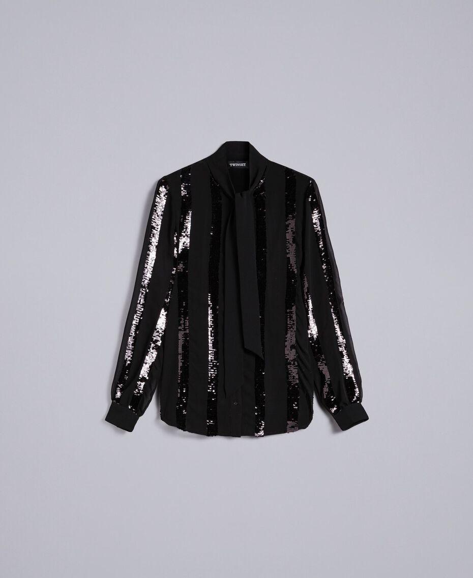 Chemise en crêpe georgette avec paillettes Noir Femme PA82J2-0S