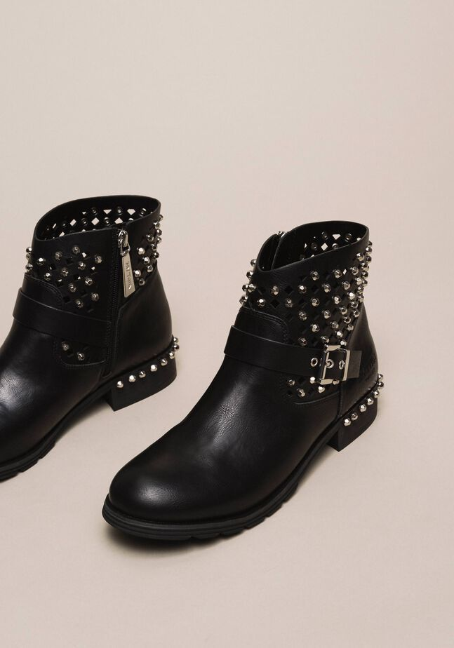 Biker boots with rhinestones and logo